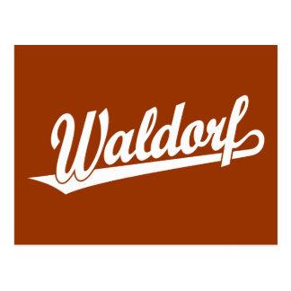 Waldorf script logo in white postcard