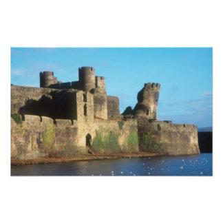 Wales - Caerphilly castle, with a view of the Photograph