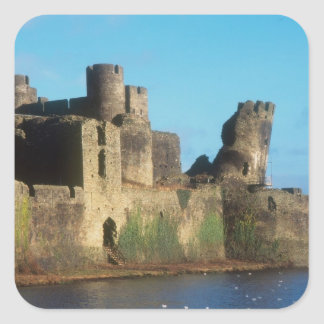 Wales - Caerphilly castle, with a view of the Square Sticker