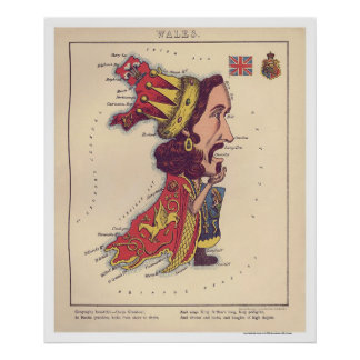 Wales Caricature Map 1868 Poster