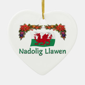\Wales Christmas Ceramic Heart Decoration