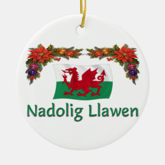 \Wales Christmas Round Ceramic Decoration