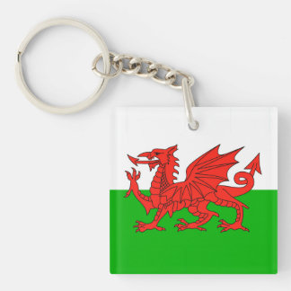 wales country flag british nation welsh symbol Double-Sided square acrylic key ring