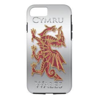 Wales Cymru, Dragon, Silver Effect iPhone 7, Tough iPhone 8/7 Case