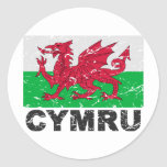 Wales CYMRU Vintage Flag Classic Round Sticker