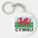 Wales CYMRU Vintage Flag Key Chains
