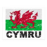 Wales CYMRU Vintage Flag Post Cards