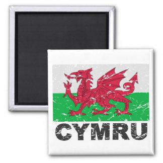 Wales CYMRU Vintage Flag Square Magnet