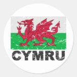 Wales CYMRU Vintage Flag Stickers