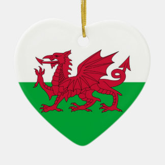 WALES Double-Sided HEART CERAMIC CHRISTMAS ORNAMENT