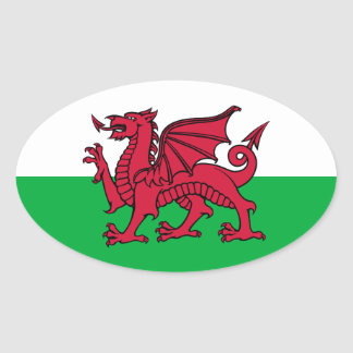 Wales Dragon Oval Sticker