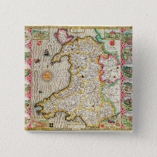 Wales, engraved by Jodocus Hondius 15 Cm Square Badge