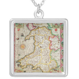 Wales, engraved by Jodocus Hondius Silver Plated Necklace