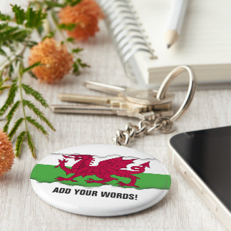 Wales Flag Basic Round Button Key Ring