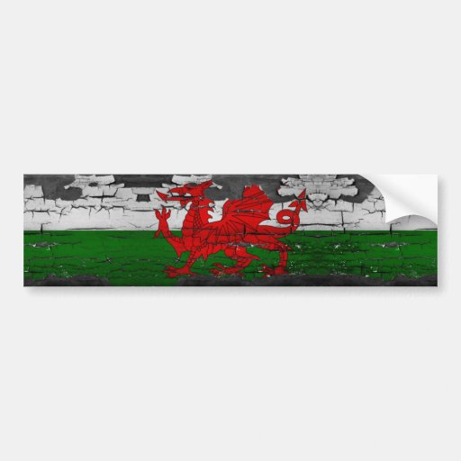 Wales Flag Distressed Bumper Stickers
