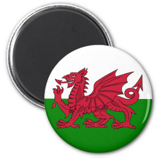 Wales Flag Heart 6 Cm Round Magnet