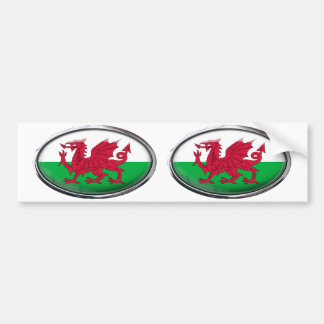 Wales Flag in Glass Oval Bumper Sticker