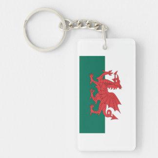 Wales Flag Double-Sided Rectangular Acrylic Key Ring