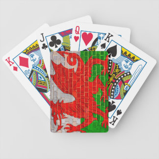 Wales flag on a brick wall bicycle playing cards