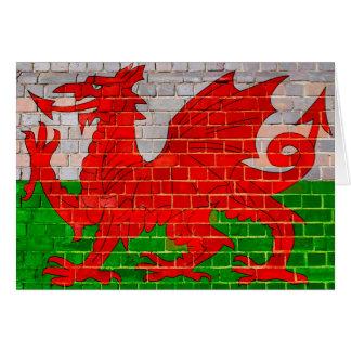 Wales flag on a brick wall card
