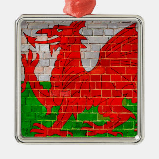 Wales flag on a brick wall christmas ornament