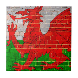 Wales flag on a brick wall small square tile