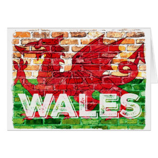 Wales Flag on Brick Card