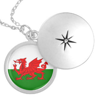 Wales flag round locket necklace
