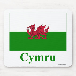 Wales Flag with Name in Welsh Mouse Mat