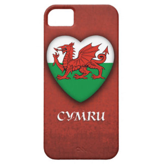 Wales Heart Flag on Red Grunge background iPhone 5 Cases
