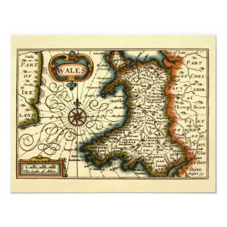 Wales - Historic 17th Century Map of Wales 11 Cm X 14 Cm Invitation Card
