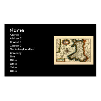 Wales - Historic 17th Century Map of Wales Double-Sided Standard Business Cards (Pack Of 100)