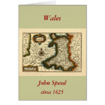 Wales - Historic 17th Century Map of Wales Cards