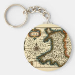 Wales - Historic 17th Century Map of Wales Basic Round Button Key Ring