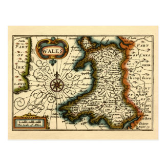 Wales - Historic 17th Century Map of Wales Postcard