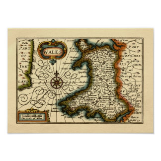 Wales - Historic 17th Century Map of Wales Print