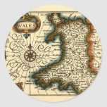 Wales - Historic 17th Century Map of Wales Round Sticker