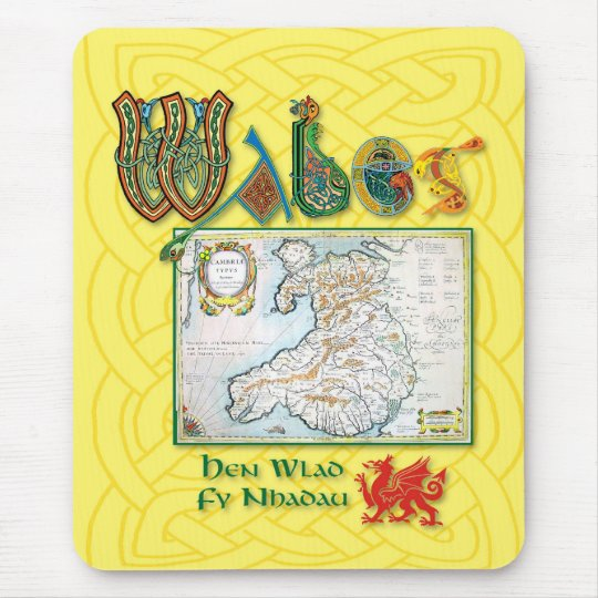 Wales Historic Map Mouse pad