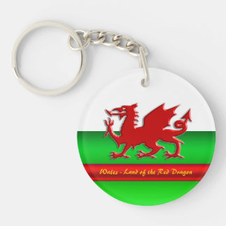 Wales - Home of the Red Dragon, metallic-effect Double-Sided Round Acrylic Key Ring