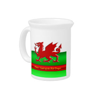Wales - Home of the Red Dragon, metallic-effect Pitchers