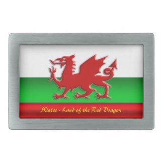Wales - Home of the Red Dragon, metallic-effect Rectangular Belt Buckle