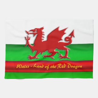 Wales - Home of the Red Dragon, metallic-effect Tea Towel