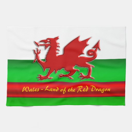 Wales - Home of the Red Dragon, metallic-effect Hand Towels
