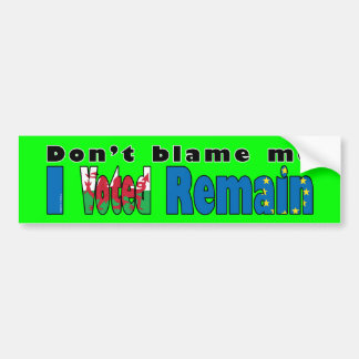 "Wales ""I Voted remain"" EU referendum Bumper Sticker"