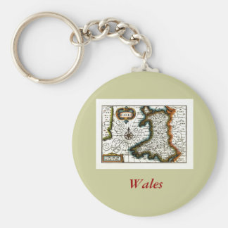 Wales Map and/or Flag Basic Round Button Key Ring
