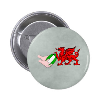 Wales Rugby Team  Dragon With Rugby Ball 6 Cm Round Badge