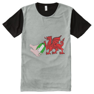 Wales Rugby Team  Dragon With Rugby Ball All-Over Print T-Shirt