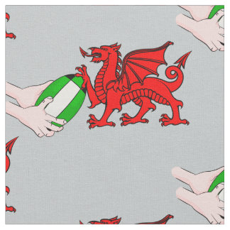 Wales Rugby Team  Dragon With Rugby Ball Fabric