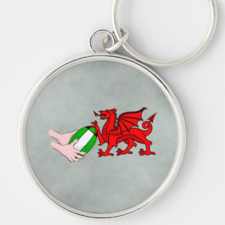 Wales Rugby Team  Dragon With Rugby Ball Silver-Colored Round Key Ring