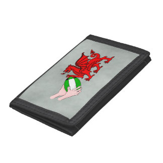 Wales Rugby Team  Dragon With Rugby Ball Trifold Wallets